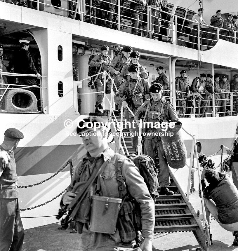 Grenadier Guards, regiment of the British Army, arriving in Londonderry, N Ireland, on board the Rame Head, to take over to role of the RUC, specifically in areas of public disorder like the Bogside. August 1969. 196908000154..Copyright Image from Larry Doherty, c/o Victor Patterson, 54 Dorchester Park, Belfast, UK, BT9 6RJ..Tel: +44 28 9066 1296.Mob: +44 7802 353836.Voicemail +44 20 8816 7153.Skype: victorpattersonbelfast.Email: victorpatterson@mac.com.Email: victorpatterson@ireland.com (back-up)..IMPORTANT: If you wish to use this image or any other of my images please go to www.victorpatterson.com and click on the Terms & Conditions. Then contact me by email or phone with the reference number(s) of the image(s) concerned.