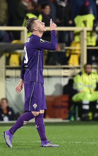 18.02.2016. Florence, Italy. UEFA Europa League football. Fiorentina versus Tottenham Hotspur.  Goal celebration from scorer Federico Bernardeschi