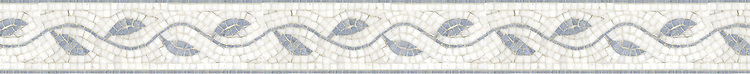 "4"" Baldwin border, a hand-cut mosaic shown in polished Thassos and Celeste by New Ravenna."