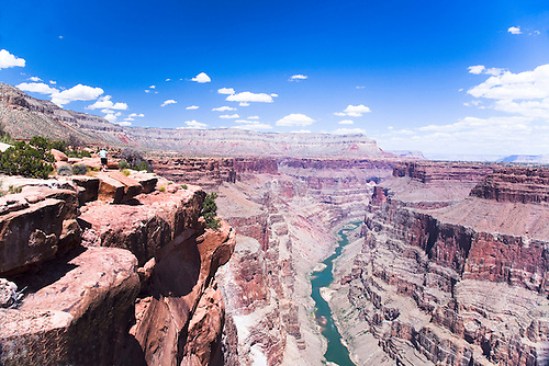 VIEW OF A GREEN COLORADO RIVER FROM THE NORTH RIM OF THE GRAND CANYON AT TOROWEAP
