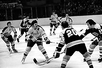 California Golden Seals vs Boston Bruins, 1973 action:<br />