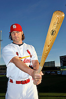 Mar 01, 2010; Jupiter, FL, USA; St. Louis Cardinals catcher Jason LaRue (21) during  photoday at Roger Dean Stadium. Mandatory Credit: Tomasso De Rosa/ Four Seam Images
