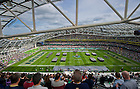 Sep 1, 2012; The U.S. Naval Academy Brigade of Midshipmen marches onto the field at Aviva Stadium. ..Photo by Matt Cashore/University of Notre Dame