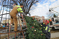 NWA Democrat-Gazette/FLIP PUTTHOFF <br /> TREE TRIMMING<br /> John Williams (from left), Frankie Guyll and Scott Wise, all with the Rogers Street Department put branches Tuesday Nov. 24, 2015 on the downtown Rogers Christmas tree. The crew set up the tree at First and Elm streets. Lights on the tree will be turned on Dec. 4 during the Rogers Christmas parade, said Guyll, street department superintendent.