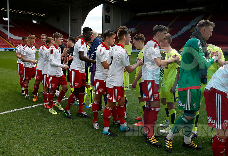 Both teams shake hands before kick off during the PDL U21 Final at Bramall Lane Sheffield. Photo credit should read: Simon Bellis/Sportimage