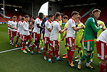 Both teams shake hands before kick off during the PDL U21 Final at Bramall Lane Sheffield. Photo credit should read: Simon Bellis/Sportimage