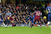 Aaron Cresswell scores the first Goal and celebrates during Chelsea vs West Ham United, Premier League Football at Stamford Bridge on 30th November 2019