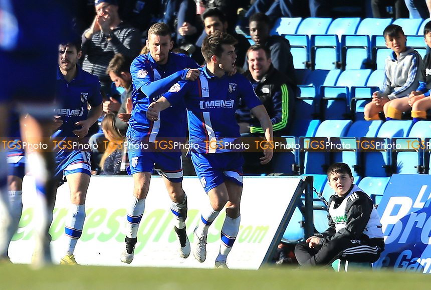 John Marquis of Gillingham celebrates his equaliser - Gillingham vs Doncaster Rovers - Sky Bet League One Football at Priestfield Stadium, Gillingham, Kent - 07/03/15 - MANDATORY CREDIT: Simon Roe/TGSPHOTO - Self billing applies where appropriate - contact@tgsphoto.co.uk - NO UNPAID USE