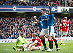 Lee Wallace scores the fourth goal for Rangers and celebrates with Kenny Miller