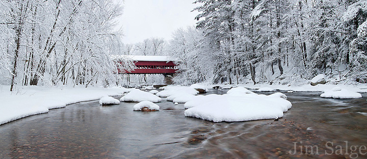 An overnight snowfall coats turns the Swift River landscape into a winter wonderland.