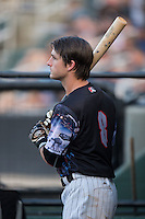 Grant Massey (8) of the Kannapolis Intimidators waits for his turn to bat during the game against the Delmarva Shorebirds at Kannapolis Intimidators Stadium on June 25, 2016 in Kannapolis, North Carolina.  The Intimidators defeated the Shorebirds 2-1.  (Brian Westerholt/Four Seam Images)