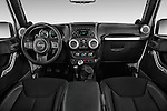 Stock photo of straight dashboard view of 2017 JEEP Wrangler-Unlimited Rubicon 5 Door SUV Dashboard