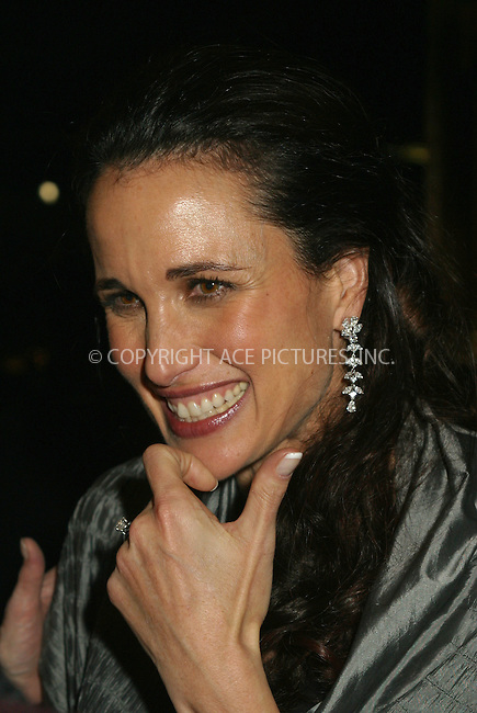 "Andie MacDowell attends ""The First Annual Liz Tileris Humanitarian Award"" to benefit The Ovarian Cancer Research Fund. The event is hosted by L'Oreal. New York, December 2, 2002. Please byline: Alecsey Boldeskul/NY Photo Press.   ..*PAY-PER-USE*      ....NY Photo Press:  ..phone (646) 267-6913;   ..e-mail: info@nyphotopress.com"