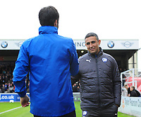 Lincoln City manager Danny Cowley, left, and Chesterfield manager Jack Lester shake hands before kick off<br /> <br /> Photographer Chris Vaughan/CameraSport<br /> <br /> The EFL Sky Bet League Two - Lincoln City v Chesterfield - Saturday 7th October 2017 - Sincil Bank - Lincoln<br /> <br /> World Copyright &copy; 2017 CameraSport. All rights reserved. 43 Linden Ave. Countesthorpe. Leicester. England. LE8 5PG - Tel: +44 (0) 116 277 4147 - admin@camerasport.com - www.camerasport.com