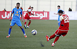 Ahly Al-Khalil football club's players (in red) and FC Khujand club's players compete during the football match crucial AFC Champions League Playoff phase at Dura Stadium in the West Bank city of Hebron on Feb. 09, 2016. Mahmoud Wadi claimed the only goal of the game in the 21st minute, when he had the time and space to pick his spot after good work down the right from Khaldun Halman set him up to score from close range. Victory means Ahly Al-Khalil will feature in Group D of this season's continental championship, where they will face Bahrain's Al Muharraq, Fanja from Oman and Syrian side Al Jaish, winners of the inaugural AFC Cup in 2004. Photo by Wisam Hashlamoun