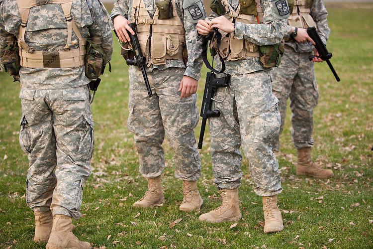 The Ohio University ROTC program prepare for their weekend combat training retreat.  Photo by Ohio University / Jonathan Adams