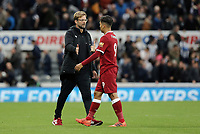 Liverpool manager Jurgen Klopp looks dejected as he greets Roberto Firmino at the final whistle<br /> <br /> Photographer Rich Linley/CameraSport<br /> <br /> The Premier League -  Newcastle United v Liverpool - Sunday 1st October 2017 - St James' Park - Newcastle<br /> <br /> World Copyright &copy; 2017 CameraSport. All rights reserved. 43 Linden Ave. Countesthorpe. Leicester. England. LE8 5PG - Tel: +44 (0) 116 277 4147 - admin@camerasport.com - www.camerasport.com