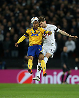 Tottenham Hotspur's Ben Davies and Douglas Costa of Juventus<br /> <br /> Photographer Rob Newell/CameraSport<br /> <br /> UEFA Champions League Round of 16 Second Leg - Tottenham Hotspur v Juventus - Wednesday 7th March 2018 - Wembley Stadium - London <br />  <br /> World Copyright &copy; 2017 CameraSport. All rights reserved. 43 Linden Ave. Countesthorpe. Leicester. England. LE8 5PG - Tel: +44 (0) 116 277 4147 - admin@camerasport.com - www.camerasport.com