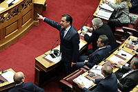 Pictured: Adonis Georgiadis (R), deputy leader of the New Democracy party with the party leader Kyriakos Mitsotakis (L) in the Greek Parliament. STOCK PICTURE<br />