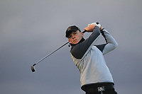 Gavan Keogh (Galway) on the 18th tee during Round 2 of the Ulster Boys Championship at Portrush Golf Club, Portrush, Co. Antrim on the Valley course on Wednesday 31st Oct 2018.<br /> Picture:  Thos Caffrey / www.golffile.ie<br /> <br /> All photo usage must carry mandatory copyright credit (&copy; Golffile | Thos Caffrey)