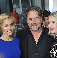 Russell Crowe, Isabel Lucas &amp; Jacqueline McKenzie (right) at the Los Angeles premiere of their movie &quot;The Water Diviner&quot; at the TCL Chinese Theatre, Hollywood.<br /> April 16, 2015  Los Angeles, CA<br /> Picture: Paul Smith / Featureflash