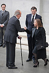King Juan Carlos of Spain, Spanish prime minister Mariano Rajoy and his wife Elvira Fernandez arrive to the state funeral for former Spanish prime minister Adolfo Suarez at the Almudena Cathedral in Madrid, Spain. March 31, 2014. (ALTERPHOTOS/Victor Blanco)