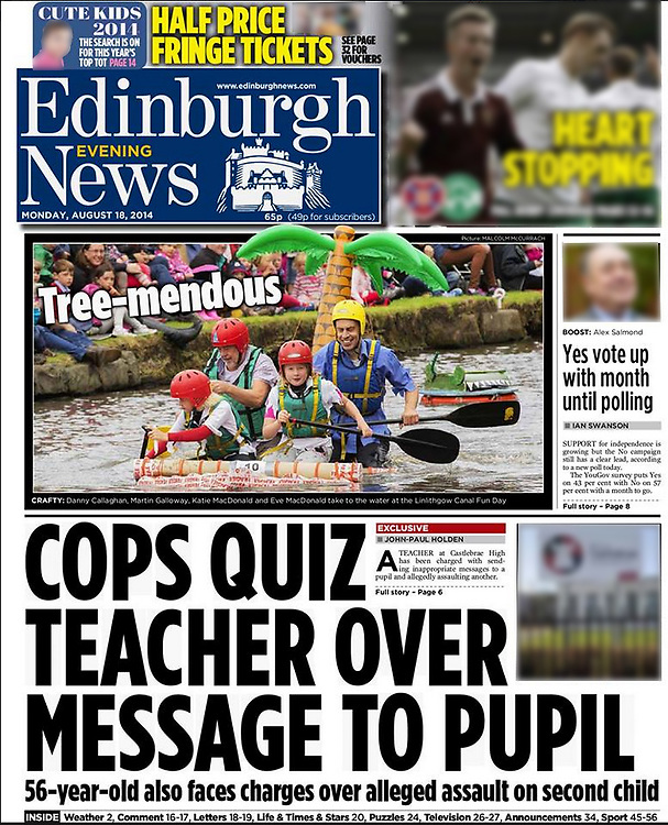 Edinburgh Evening News, front page.<br /> <br /> Image by: Malcolm McCurrach | New Wave Images UK<br /> Tue, 19, August, 2014
