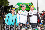 Rugby legend Mick Galwey with James Quilligan and John O'Gorman at the start of the Ring of Kerry cycle in Killarney on Saturday