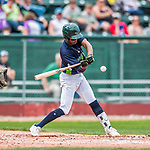 4 September 2017: Vermont Lake Monsters outfielder James Terrell at bat in the second inning during the first game of a double-header against the Tri-City ValleyCats at Centennial Field in Burlington, Vermont. The Lake Monsters split their games, falling 6-5 in the first, then winning the second 7-4, thus clinching the NY Penn League Stedler Division Championship. Mandatory Credit: Ed Wolfstein Photo *** RAW (NEF) Image File Available ***