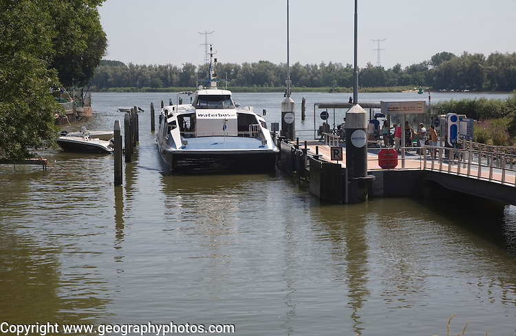 The Waterbus is a public transportation system on the River Maas linking Rotterdam to Dordrecht and with several smaller branch lines, South Holland, Netherlands. This is the station at Sleidrecht.