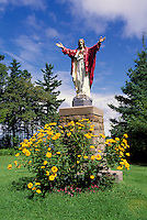 Caraquet, NB, New Brunswick, Canada - Statue of Jesus Christ at Sainte-Anne-du-Bocage, a Catholic Sanctuary