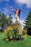 Caraquet, NB, New Brunswick, Canada - Statue of Jesus Christ at Sainte-Anne-du-Bocage, a Catholic Sanctuary