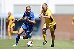 30 August 2013: Duke's Rebecca Quinn (CAN) (left) and Kennesaw State's Maggie Gaughan (right). The Duke University Blue Devils played the Kennesaw State University Owls at Fetzer Field in Chapel Hill, NC in a 2013 NCAA Division I Women's Soccer match. Duke won 1-0.