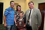 Dylan McKenna who won the Award for Junior Athlete of the Year with his parents Damien and Majella and Mayor Paul Bell at the Special Olympics Summer Party in the Boyne Valley Hotel...Photo NEWSFILE/Jenny Matthews.(Photo credit should read Jenny Matthews/NEWSFILE)....This Picture has been sent you under the condtions enclosed by:.Newsfile Ltd..The Studio,.Millmount Abbey,.Drogheda,.Co Meath..Ireland..Tel: +353(0)41-9871240.Fax: +353(0)41-9871260.GSM: +353(0)86-2500958.email: pictures@newsfile.ie.www.newsfile.ie.FTP: 193.120.102.198.