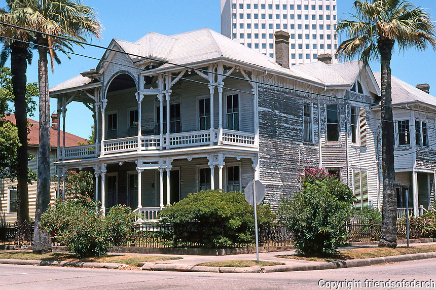 Galveston:   Corner House, 1802 Church St. Behind it looms the American National Life Insurance Bldg., 1972.