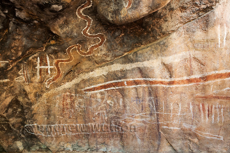 Aboriginal rock paintings in Chillagoe-Mungana Caves National Park.  Chillago, Queensland, Australia