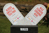 Pictured: Grow Wild banners Saturday 13 August 2016<br />Re: Grow Wild event at  Furnace to Flowers site in Ebbw Vale, Wales, UK