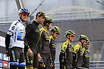 Mitchelton-Scott on stage at sign on before the 2019 Gent-Wevelgem in Flanders Fields running 252km from Deinze to Wevelgem, Belgium. 31st March 2019.<br /> Picture: Eoin Clarke | Cyclefile<br /> <br /> All photos usage must carry mandatory copyright credit (© Cyclefile | Eoin Clarke)