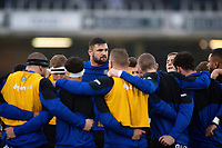 Elliott Stooke of Bath Rugby looks on in a pre-match huddle. Gallagher Premiership match, between Bath Rugby and Sale Sharks on December 2, 2018 at the Recreation Ground in Bath, England. Photo by: Patrick Khachfe / Onside Images