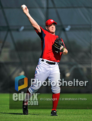 19 February 2011: Washington Nationals' pitcher Jordan Zimmermann warms up with light tossing during Spring Training at the Carl Barger Baseball Complex in Viera, Florida. Mandatory Credit: Ed Wolfstein Photo