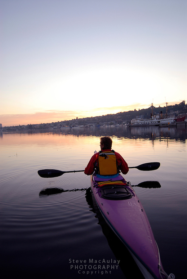 Sea kayaking at South Lake Union Park, Seattle, WA.