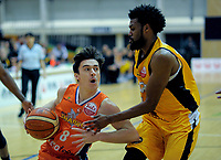 Derone Raukawa (Southland) in action during the national basketball league match between Taranaki Mountainairs and Southland Sharks at TSB Stadium in New Plkymouth, New Zealand on Thursday, 12 July 2018. Photo: Dave Lintott / lintottphoto.co.nz