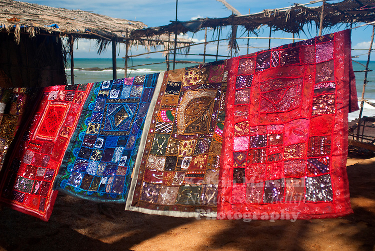 Local Indian handmade embroidery for sale. Anjuna markets - Goa, Southern India.