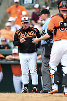 Baltimore Orioles manager Buck Showalter (26) questions a call with umpire Seth Buckminster during a spring training game against the Pittsburgh Pirates on March 23, 2014 at Ed Smith Stadium in Sarasota, Florida.  Baltimore and Pittsburgh tied 7-7.  (Mike Janes/Four Seam Images)