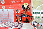 Vincenzo Nibali (ITA) Bahrain-Merida signs on before the start of Stage 3 of the 2019 UAE Tour, running 179km form Al Ain to Jebel Hafeet, Abu Dhabi, United Arab Emirates. 26th February 2019.<br /> Picture: LaPresse/Massimo Paolone | Cyclefile<br /> <br /> <br /> All photos usage must carry mandatory copyright credit (© Cyclefile | LaPresse/Massimo Paolone)