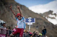 Ilnur Zakarin (RUS/Katusha-Alpecin) takes the first mountaintop finish of this Giro<br /> <br /> Stage 13: Pinerolo to Ceresole Reale/Lago Serrù (196km)<br /> 102nd Giro d'Italia 2019<br /> <br /> ©kramon