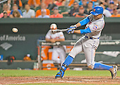 New York Mets right fielder Curtis Granderson (3) lines out in the seventh inning against the Baltimore Orioles at Oriole Park at Camden Yards in Baltimore, Maryland on Wednesday, August 19, 2015.  The Orioles won the game 5 - 4.<br /> Credit: Ron Sachs / CNP<br /> (RESTRICTION: NO New York or New Jersey Newspapers or newspapers within a 75 mile radius of New York City)