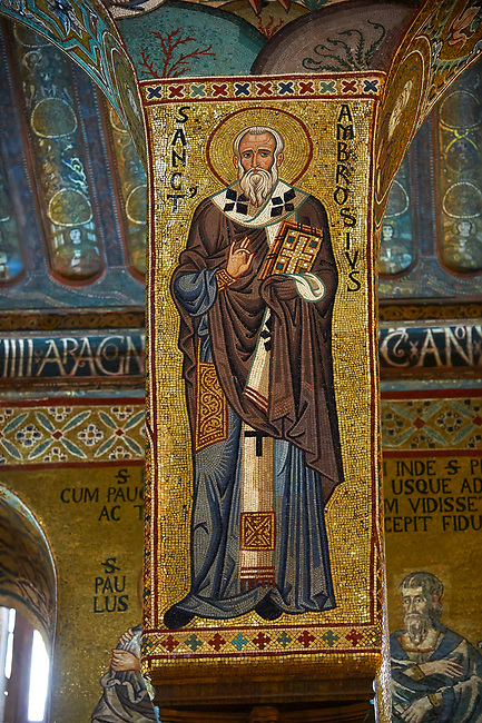 Medieval Byzantine style mosaics of St Ambrose,  the Palatine Chapel, Cappella Palatina, Palermo, Italy