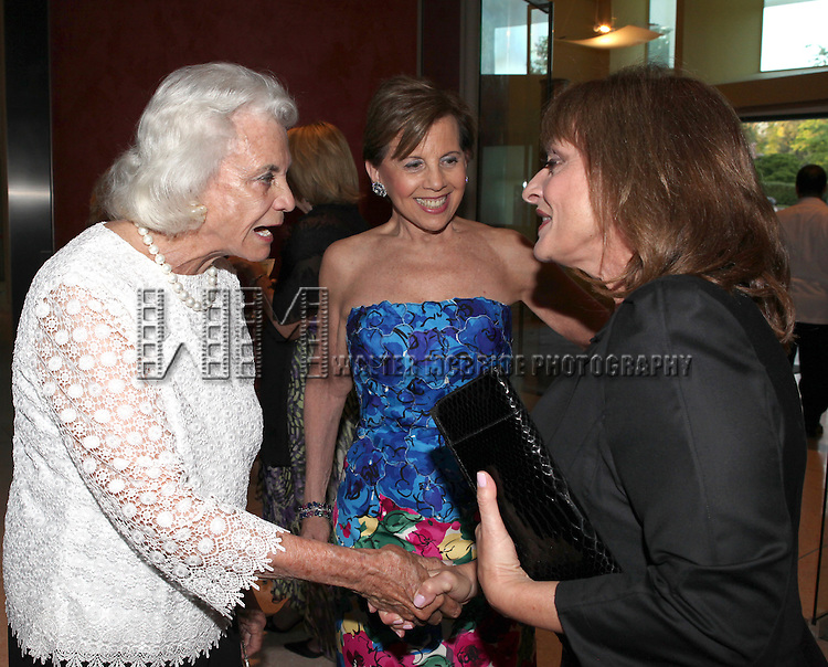 Sandra Day O'Connor & Adrienne Arsht with Patti Lupone.attending the Signature Theatre Stephen Sondheim Award Gala reception honoring Patti Lupone at the Embassy of Italy in Washington D.C. on 4/16/2012.