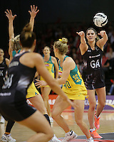 20.10.2016 Silver Ferns Te Paea Selby-Rickit in action during the Silver Ferns v Australia netball test match played at ILT Stadium in Invercargill. Mandatory Photo Credit ©Michael Bradley.